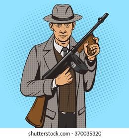 Gangster with machine gun pop art style vector illustration. Comic book style imitation. Vintage retro style. Conceptual illustration