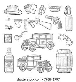 Gangster mafia set. Engraving vintage vector color illustration. Isolated on white background. Hand drawn design element for label and poster