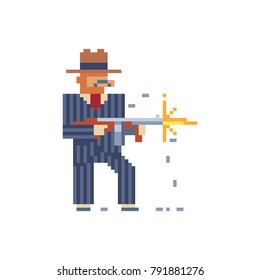 Gangster. Man with tommy gun. Pixel art character. 8-bit sprites. Mafia, mobster and gangster theme. Isolated vector illustration.