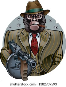 gangster monkey in suit holding machine gun