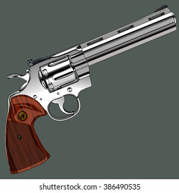 Gangster silver revolver on a gray background