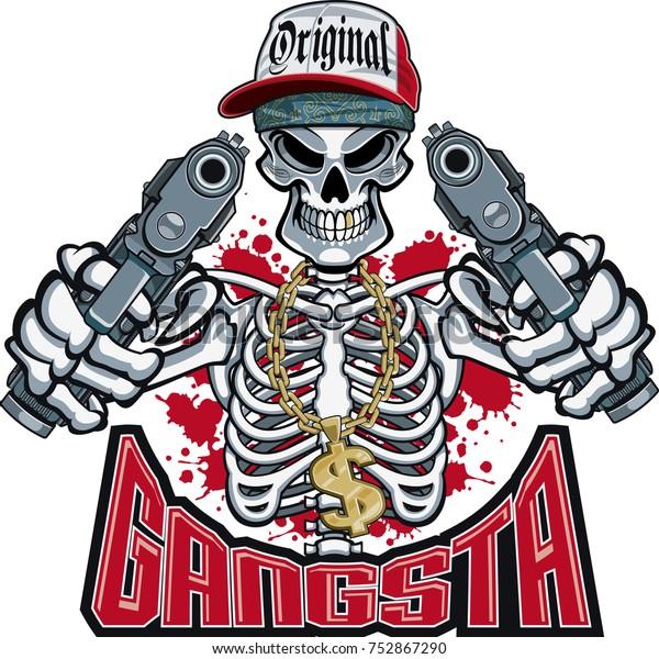 gangster skeleton pointing  guns