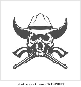 Gangster skull with cowboy hat and pistols. Vector.