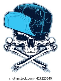 Gangster. Skull with cross bones and cap