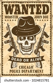 Gangster skull in fedora hat with two submachine guns wanted poster in vintage style vector illustration for thematic party or event