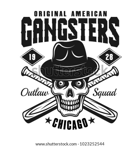 Gangster Skull Fedora Hat Two Crossed Stock Vector (Royalty Free ... 822737b8f565