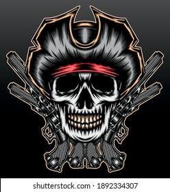 Gangster skull pirate with gun. Premium vector