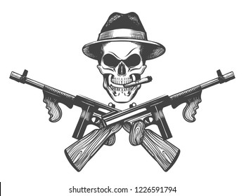 Gangster skull tattoo. Death head with cigar, hat and crossed submachine guns. Vector illustration