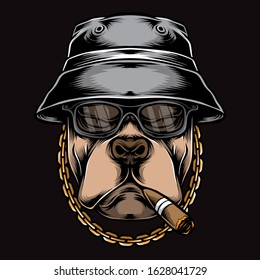 gangster smoking pitbull vector logo