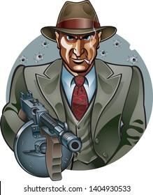 gangster with thompson submachine gun