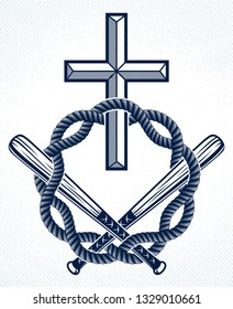Gangster thug emblem or logo with Christian Cross, vector tattoo, anarchy and chaos, dead rebel partisan and revolutionary.