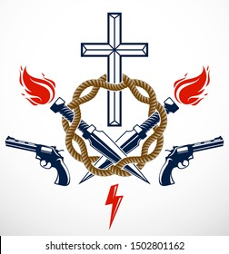 Gangster thug emblem or logo with Christian Cross, weapons and different design elements , vector tattoo, anarchy and chaos, dead rebel partisan and revolutionary.