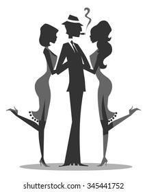Gangster with two girls silhouette