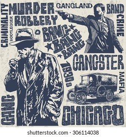 Gangsters 1930s set, hand drawn characters, words and design elements. vector illustration.