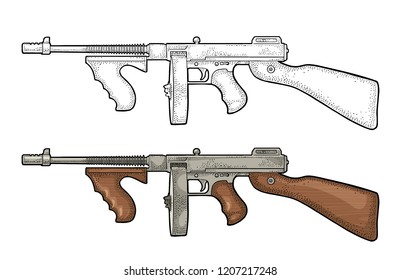 Gangsters automatic weapon Tommy gun. Engraving vintage vector color and monochrome illustration. Isolated on white background. Hand drawn design element for label and poster