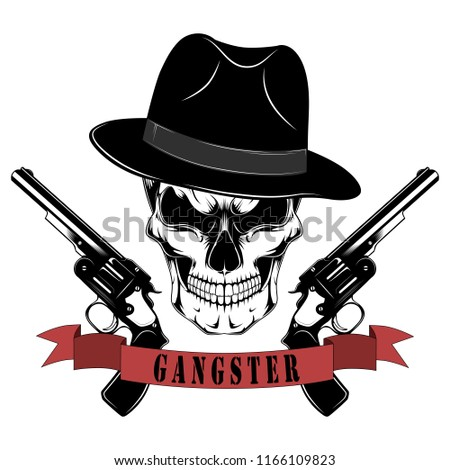 A gangster s skull in a hat with pistols. Black and white vector image. 1d186eb1e8f3