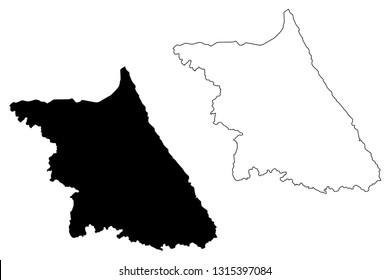 Gangwon Province (South Korea, Republic of Korea, ROK, Provinces of South Korea) map vector illustration, scribble sketch Gangwon-do map