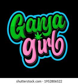 Ganja girl lettering design for cannabis