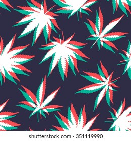 Ganja Weed Marijuana Seamless Vector Pattern Background