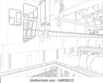 Gantry crane in a factory environment. Wire-frame. Vector EPS10 format. Vector rendering of 3d