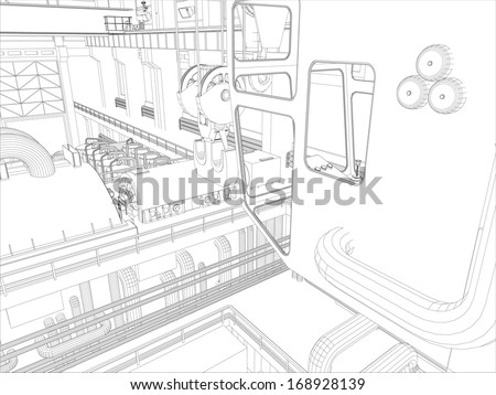 Gantry Crane Factory Environment Wireframe Vector Stock Vector