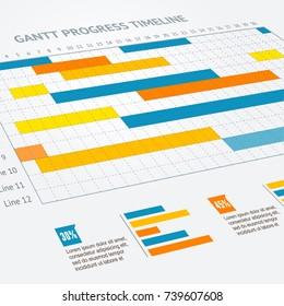 Gantt Progress Line Business Plan or Project Chart Timeline Closeup View Control Organization and Audit Time Concept. Vector illustration of Ganttchart