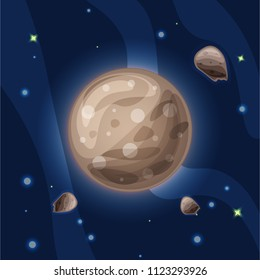 ganymede, vector cartoon illustration. The largest and massive moon of Jupiter, Ganimed, of Solar system in dark deep blue space, isolated on blue background