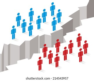 gap or chasm separates two different groups of people