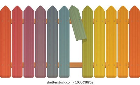Gap in the fence - colored picket fence with broken plank and loophole to slip through, escape, flee, take off, break free, slip away, sidle off - isolated vector illustration on white background.