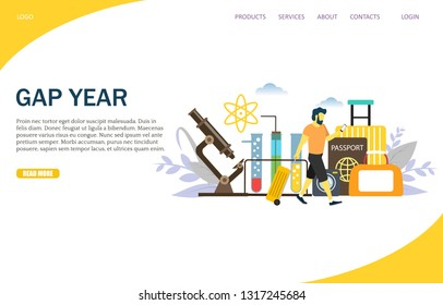 Gap year vector website template, web page and landing page design for website and mobile site development. Sabbatical year or time of rest, study or travel concept.
