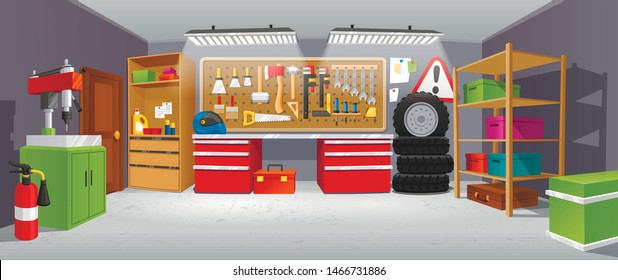 Garage background, building for a car to keep. Small shop area where vehicles are repaired, stored, sold. Vector illustration garage.