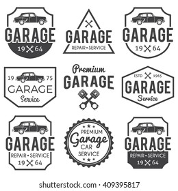Garage badge/label set. Car repair logos. Vector vintage hipster logotypes. Auto service. For signage, prints and stamps.