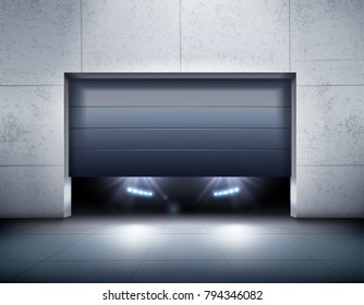 Garage and car realistic background with garage door and light realistic vector illustration