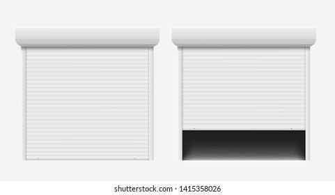 Garage door. Automatic construction door, aluminum shutter entrance steel door. Secure roller shutters protect system, contemporary gate vector set