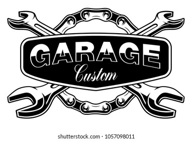 Garage emblem with motorcycle chain and wrenches on white background. Text is on the separate group.