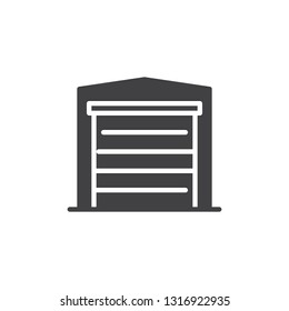 Garage gate vector icon. filled flat sign for mobile concept and web design. Airport warehouse simple glyph icon. Symbol, logo illustration. Pixel perfect vector graphics