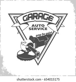 Garage grinder logo design, monochrome style, vector