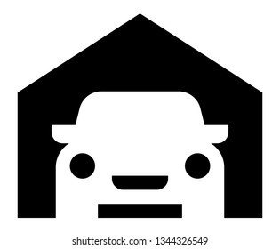 Garage icon. Vector icon of car parked in garage