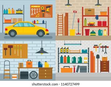 Garage interior car room banner concept set. Flat illustration of 4 garage interior car room vector banner concepts for web