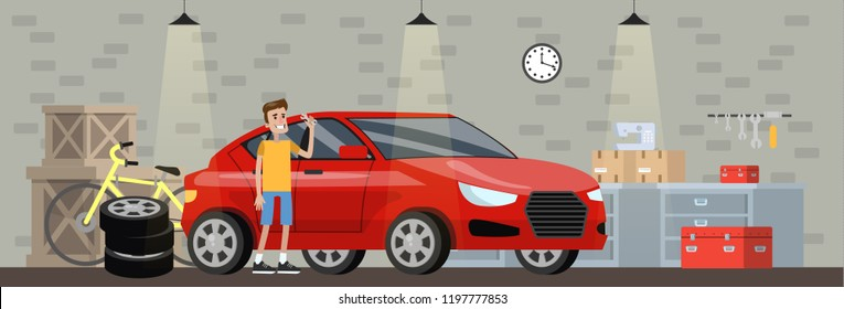 Garage interior in the house with red car. Man repair automobile. Fixing vehicle and changing tire. Bicycle standing at the wall. Vector flat illustration