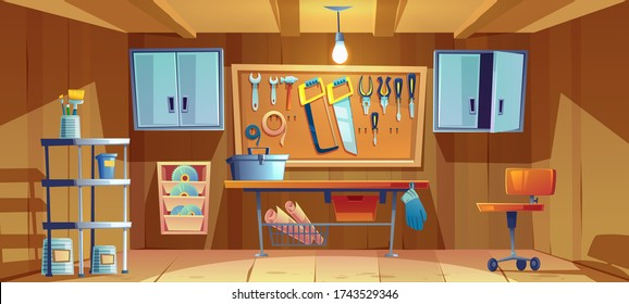 Garage interior with instruments, tools for carpentry and repair works. Empty workshop with Screwdriver, pliers and hammer hanging on board, workbench, toolbox and brushes. Cartoon vector illustration