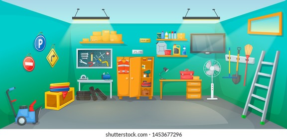 Garage interior room with tools furniture inventory equipment. Workplace on car repair with auto equipment, tires, jerrican, tools, boxes, wrenches, screwdrivers, joiner's machine, snowplow vector