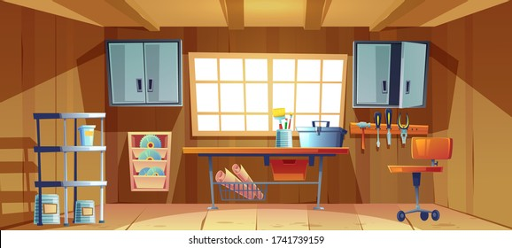 Garage interior with tools for carpentry and repair works. Vector cartoon illustration of workshop or storeroom with toolbox and paint brushes on workbench, screwdriver, hammer and plier on wall board