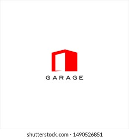 garage logo simple modern geometric red box vector for present door. automotive icon design template