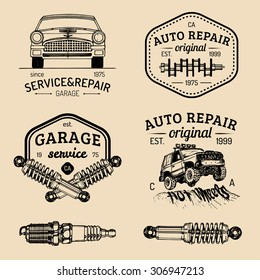 Garage logos set. Car repair emblems collection. Vector vintage hand sketched auto service signs for advertising posters, cards etc.