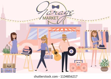 Garage market poster with people selling and shopping at walking street, clothes and accessories shop, cartoon flat design. Editable vector illustration