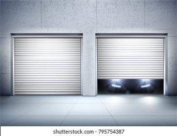 Garage realistic composition with opening door and car realistic vector illustration