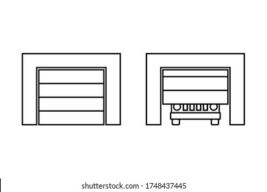 Garage roller shutters icon. Front view. Black contour silhouette. Vector flat graphic illustration. Isolated object on a white background. Isolate.
