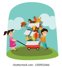 Garage Sale, Boy and girl bought toys at spring sale, children carry cart with boxes used toy, kids sell old used toys, second hand plaything vector illustration