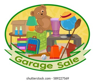 Garage Sale Clipart - Cute clip art of different household items with garage sale text at the bottom. Eps10
